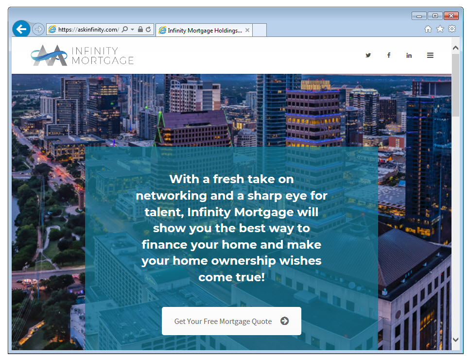 Link to Infinity Mortgage Website
